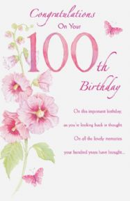 Age 100 Pink Flower Card